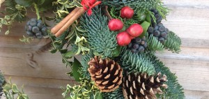 section of Christmas door wreath