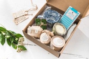 Valentine's Day Organic Hamper and willow heart