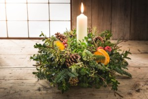 Christmas table decoration including candle by post or for collection