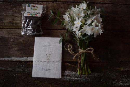 Pretty posies with organic chocolate an ethical gift from Organic Blooms